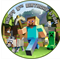 Edible Minecraft Cake Topper - wafer paper - 18cm round - PERSONALIZED