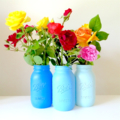 'Ball' Mason Vases- Made to order. Set of Three in Shades of Blue.