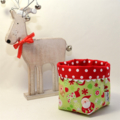 Reversible Fabric Bucket - Christmas 'Home for the Holidays' Green (10cmsq base)