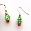 Sterling Silver & Swarovski Crystal Christmas Tree Earrings - Light Green