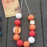 Bright Funky Geometric Necklace - Coral