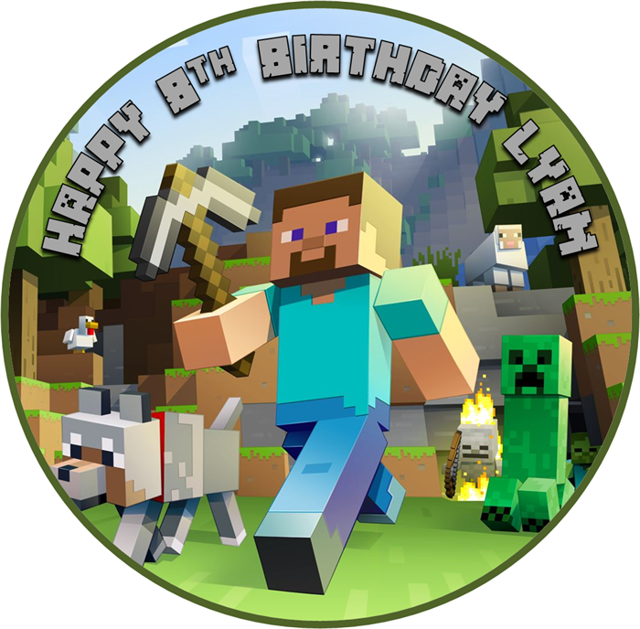 Cake Toppers Minecraft Uk : Edible Minecraft Cake Topper - wafer paper - 19cm round ...