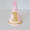 Pink & Gold Glitter 1st Birthday Party Hat - Baby Girl