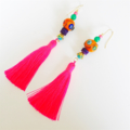 Sailing on the blue waters of Lake Titicaca long tassel earrings
