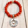 Teacher Coach Gift Personalised Apple Charm Bead Bracelet