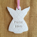 CLAY PERSONALISED BABYS FIRST CHRISTMAS GIFT KEEPSAKE HANDMADE LACE TAG