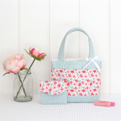 Mini Tote Bag & Purse - Pink Floral & Mint Spot