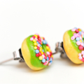 Lime green iced donut stud earrings - with sprinkles of course