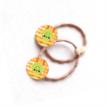 Set of 2 Orange lime Fruit hair ties / ponytail holders