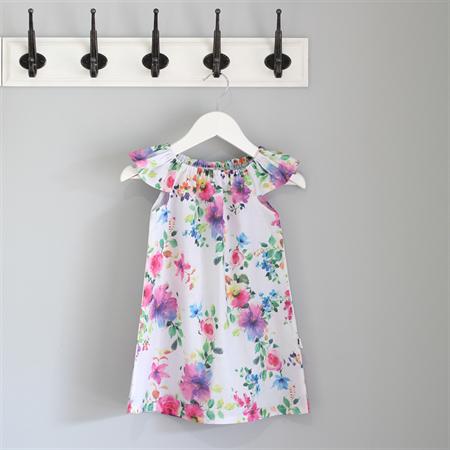 Rainbow roses girls summer dress with flutter sleeves.