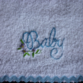 """Babies Embroidered Towelling Bibs-""""Baby""""-blue"""