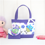 Mini Tote Bag & Purse - Purple Owls