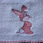 """Babies Embroidered Towelling Bibs-""""Begging Bunny""""-pink"""
