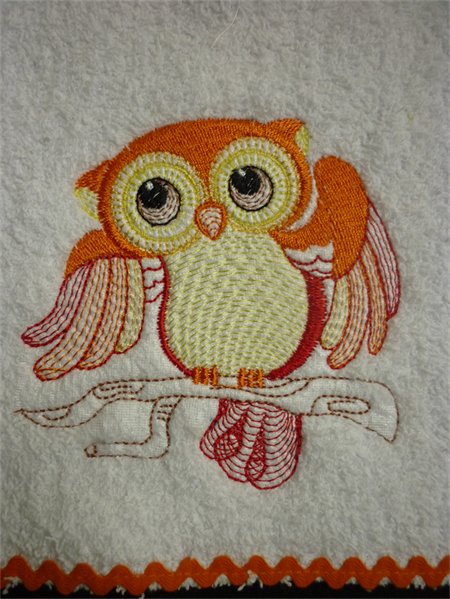 """Babies Embroidered Towelling Bibs- """"Cute Owl-6-10"""
