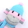 'Franny' the Sock Monkey - grey, aqua and pink - *ready to post*