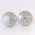 Silver Glitter Wood Stud Earrings