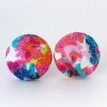Buy 3 Get 1 Free! Floral Pattern Fabric Button Stud Earrings
