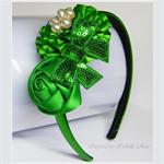 Christmas Flower & Bow Headband - Green