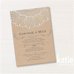 may - wedding invitation -  printable invitation - brown paper - lace pattern