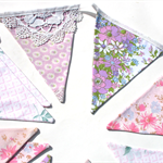 Vintage Bunting Pretty Pretty Pink Floral & Lace. Shabby Chic Wedding Tea Party