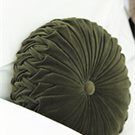 Forest Green Velvet Vintage Style round cushion