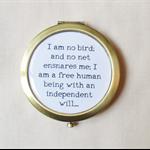 Jane Eyre Compact Mirror Quote Text Charlotte Bronte I Am No Bird Bronze