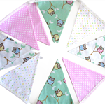 Hoot Owls Flag Bunting. Owl Wall hanging, Party, Room Decoration