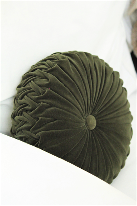 Forest Green Velvet Vintage Style round cushion-FREE POST