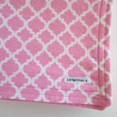 Pink Quatrefoil Flannel Baby Blanket