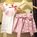 Striped Rose & Love heart Skirt with belt and Singlet Set Size 000-5
