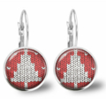 Xmas Tree Lever Back Glass Earrings