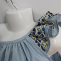 Frill Sleeved Top Blue,     Size 4 for Spring, Summer and Autumn