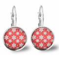 Snow Flakes Lever Back Glass Earrings