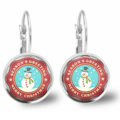 Snow Man Lever Back Glass Earrings