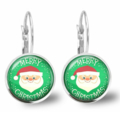 Santa Lever Back Glass Earrings