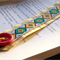 RETRO BOOKMARK YELLOW, Vintage Braid, Buckle, Button