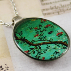 Upcycled/recycled vintage spoon resin pendant necklace, tree, flower, art, print