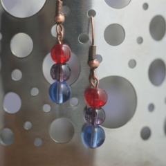 Round bead hook earring (Red, Purple & Blue)