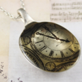 Upcycled/recycled vintage spoon resin pendant necklace antique clock watch print