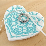 Turquoise lace porcelain ring dish. Wedding ring holder. Ring bowl. Ceramic