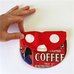 Curvy Coin Purse - Coffee & Polka Dots on Red