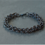 Chainmaille darkened copper thick man's bracelet.