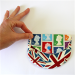 Curvy Coin Purse - Queen Stamps and British Union Jacks