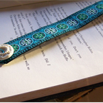 BOOKMARK RETRO VINTAGE, Blue Green White Braid, Buckle and Button