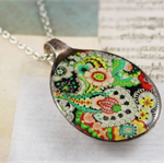 Upcycled/recycled vintage spoon resin pendant necklace Alexander Henry art print