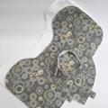 Bib & Burp Cloth Set - Grey Gears
