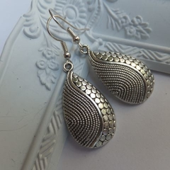 Antique Silver Textured Teardrop Earrings
