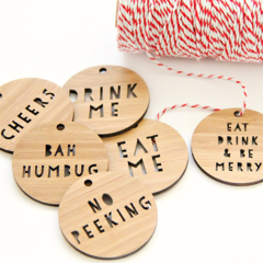 4 Bamboo Tags | 11 Different Designs | Gift Wrap Decorations Christmas