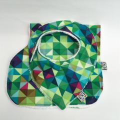 Bib & Burp Cloth Set - Multi Coloured Diamond