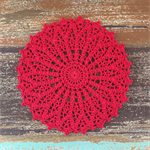 Crochet doily, large in bright strawberry red, christmas red, home